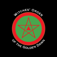 "Red triangle of flame enclosed in a red pentagram on a green field surrounded wih a red circle on a black background. The words ""Witches' Order of the Golden Dawn"" follow around the circle in white."